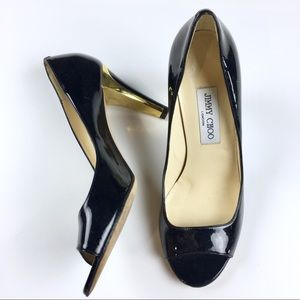 Jimmy Choo Black Patent Peep Toe Gold Heels 39.5